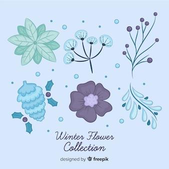 Colección flores navidad tonos fríos