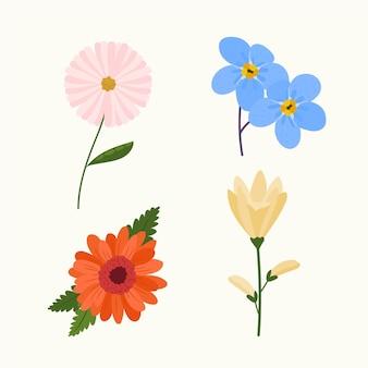 Colección de flores orgánicas de diseño plano