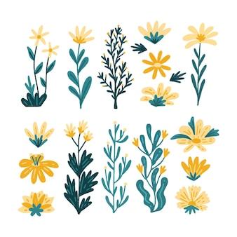Colección de flores pintadas a mano.