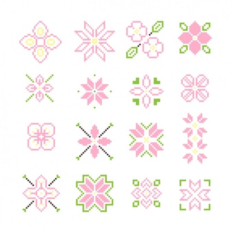 Colección de flores pixeladas