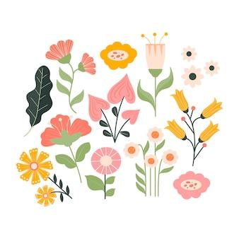 Colección de flores planas