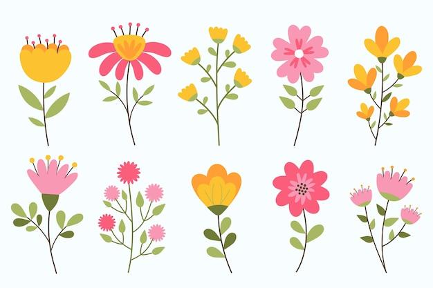 Colección de flores de primavera dibujada a mano aislada sobre fondo blanco