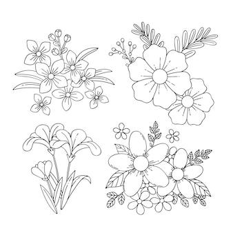 Colección de flores de primavera dibujada a mano