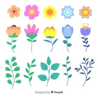 Colección de flores de primavera en diseño plano
