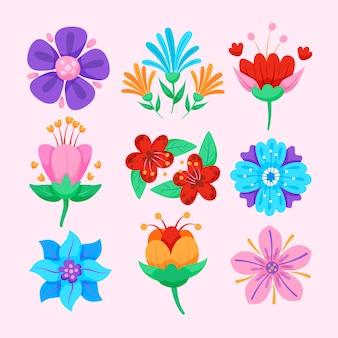 Colección de flores de primavera de estilo plano