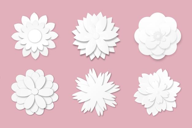 Colección de flores de primavera en papel