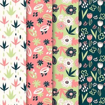 Colección de flores de primavera y patrón de hojas.