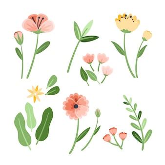 Colección de flores de primavera plana aislada sobre fondo blanco