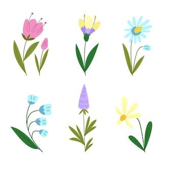 Colección de flores de primavera planas