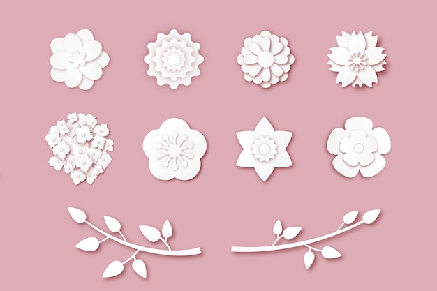 Colección de flores de primavera en tema de estilo de papel