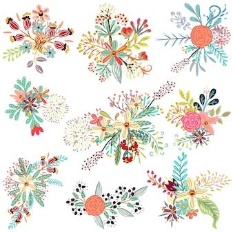 Colección de flores rústicas florales.
