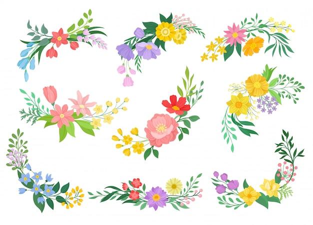 Colección de flores sobre fondo blanco. concepto de primavera.