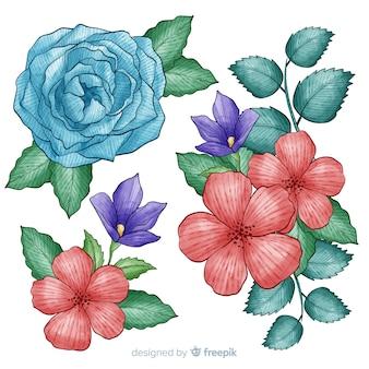 Colección de flores tropicales con violetas y rosas.