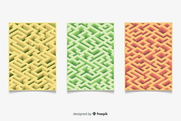 Colección folletos estilo isométrico