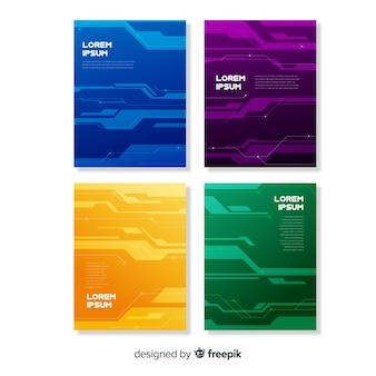Colección folletos estilo tecnológico
