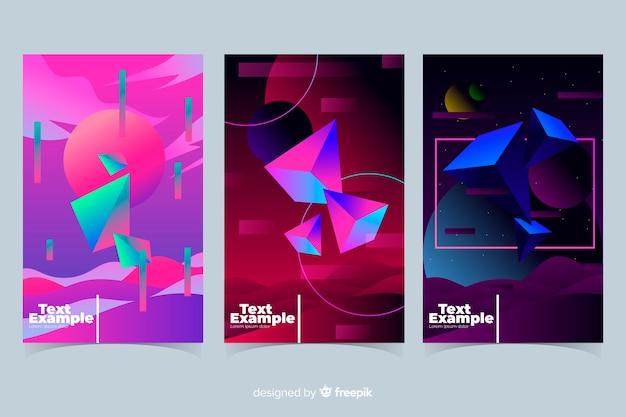 Colección folletos formas geométricas flotantes