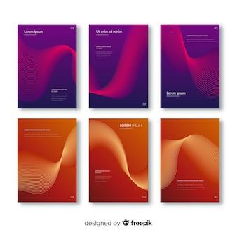 Colección folletos líneas degradadas