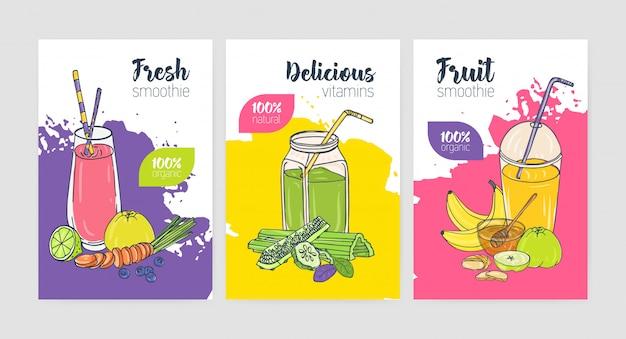Colección de folletos o carteles de colores brillantes con refrescantes bebidas frías y batidos hechos de frutas y verduras tropicales exóticas.