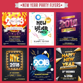 Colección de folletos o pancartas de fiesta feliz año nuevo.