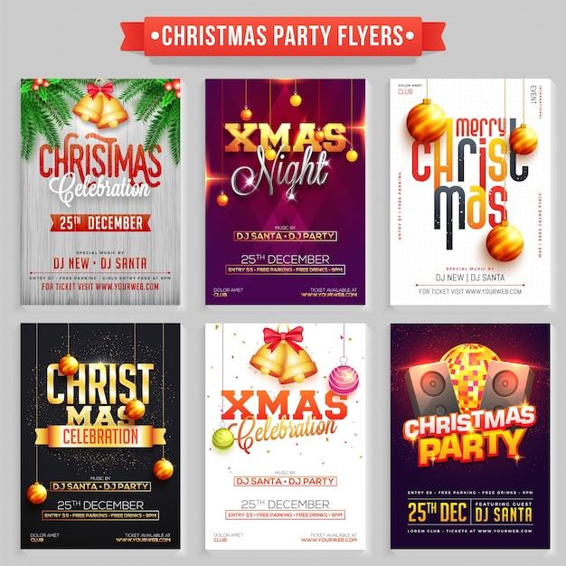 Colección de folletos o pancartas de la fiesta de navidad feliz.