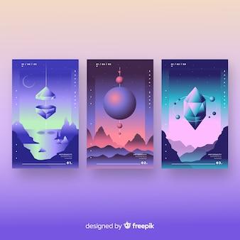 Colección folletos polígonos 3d degradados flotantes