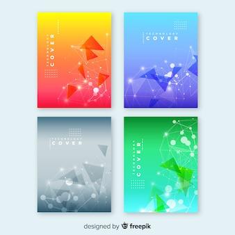 Colección folletos tecnología coloridos