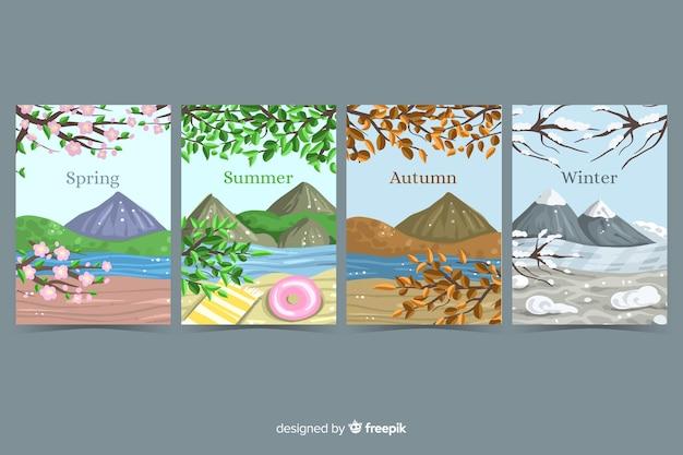 Colección de folletos de temporada dibujados a mano
