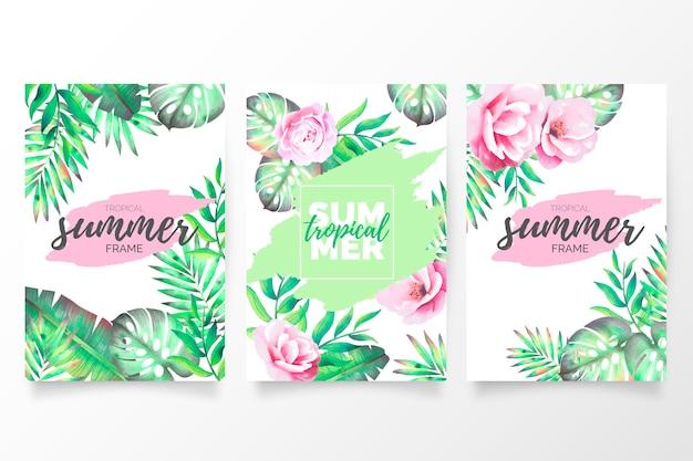 Colección de folletos de verano tropical