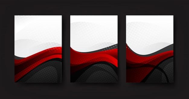 Colección de fondo abstracto de onda curva rojo gris y fondo blanco.