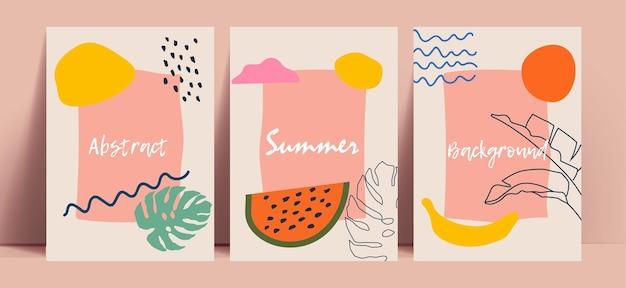 Colección de fondo abstracto de verano con frutas y hojas dibujadas a mano de colores brillantes