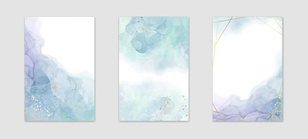 Colección de fondo de acuarela líquida azul polvoriento abstracto con manchas doradas