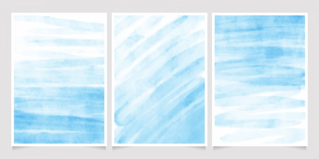 Colección de fondo acuarela de trazo de pincel azul