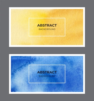 Colección de fondo de banner web acuarela amarillo y azul