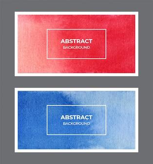 Colección de fondo de banner web acuarela roja y azul