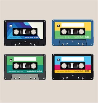 Colección de fondo de cassettes de audio coloridos antiguos