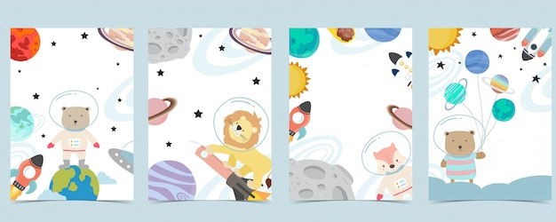 Colección de fondo espacial con astronauta, planeta, luna, estrella, cohete, animal. ilustración editable para sitio web, invitación, postal y pegatina