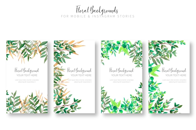 Colección de fondo floral para historias móviles e instagram