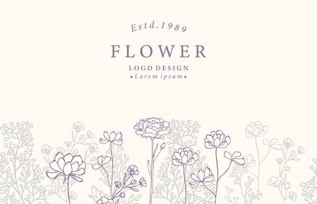 Colección de fondo de flores con lavanda, magnolia