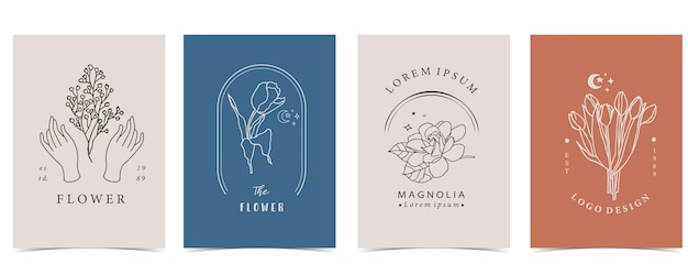 Colección de fondo de flores con mano, flor, lavanda, magnolia, forma.