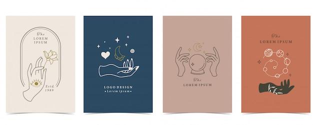 Colección de fondo oculto con mano, planeta, corazón y luna.