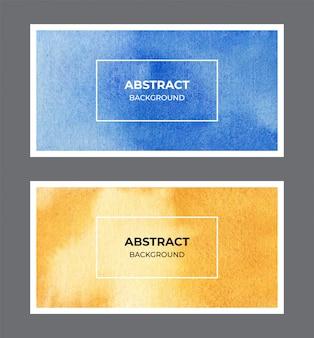 Colección de fondo de textura de banner web acuarela amarillo y azul