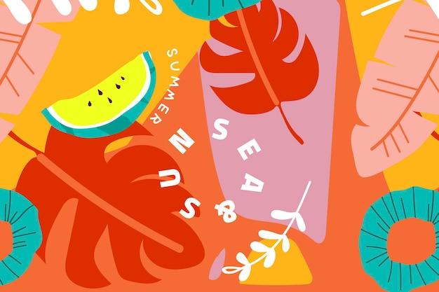 Colección de fondo de verano naranja