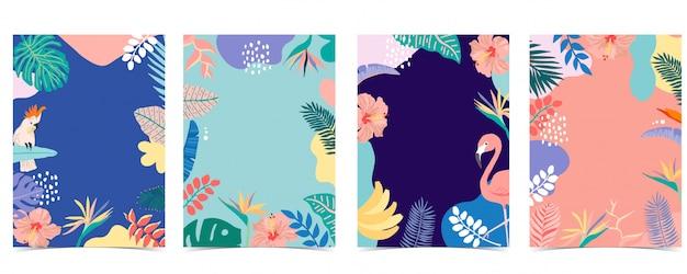 Colección de fondo de verano con palmeras, flamencos, flores. etiquetas: 12 (mín. 5 - máx. 50 etiquetas)