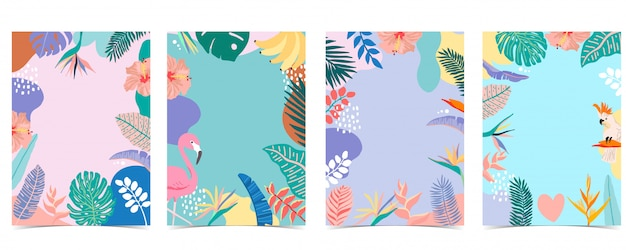 Colección de fondo de verano con palmeras, flamencos, flores.