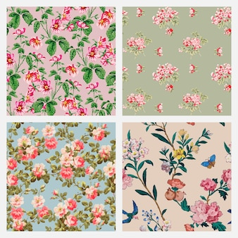 Colección de fondo vintage floral colorido vector