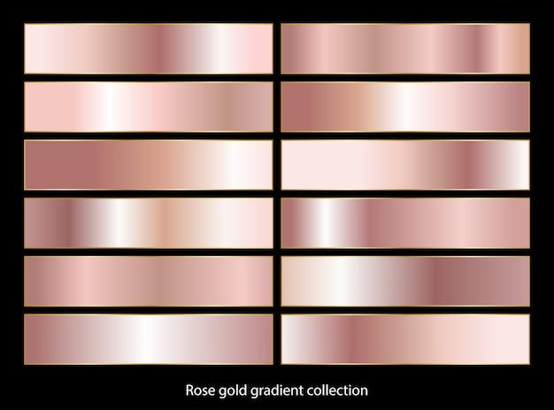 Colección de fondos degradados de oro rosa.