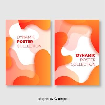 Colección de fondos con formas dinámicas en movimiento