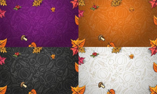 Colección de fondos de otoño. verduras, frutas y hojas otoñales que caen. vector patrón de otoño