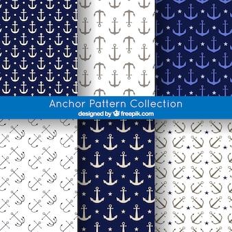 Colección de fondos con patrones de ancla