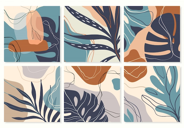 Colección de fondos tropicales abstractos